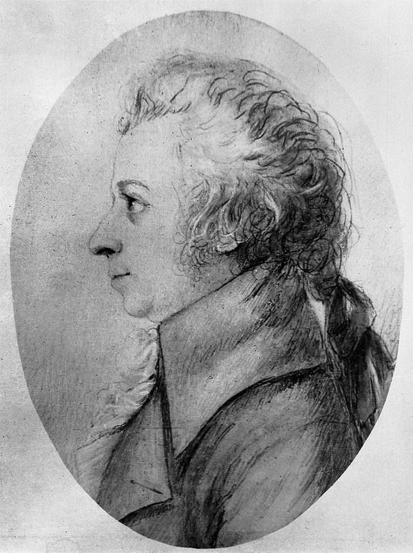 Porträt Wolfgang Amadeus Mozart, Radierung von Eduard von Mandel aus dem Jahr 1858 nach einer Silberstiftzeichnung von Dorothea Stock von 1789