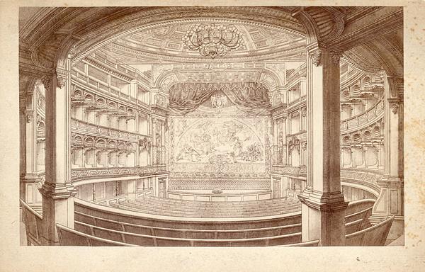 Innenansicht des 1. Königlichen Hoftheaters um 1855