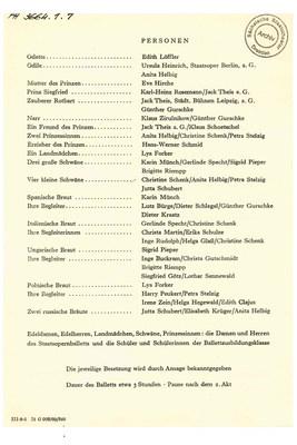 Besetzungszettel der Erstaufführung »Schwanensee« am 17. Juni 1959
