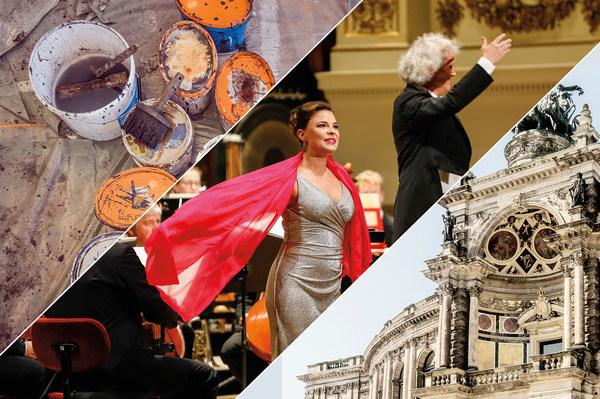 Collage aus Malsaal der Sächsischen Staatstheater, Konzert auf der Bühne der Semperoper und Exedra der Semperoper