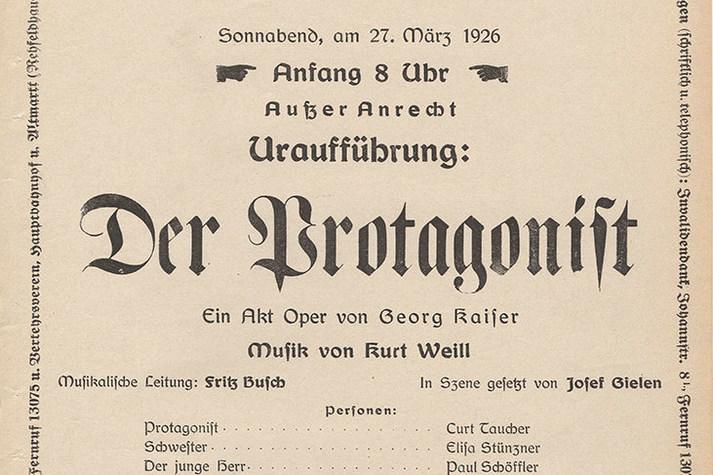 Theaterzettel der Uraufführung von »Der Protagonist« am 27. März 1926 © Historisches Archiv der Sächsischen Staatstheater