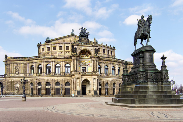 Semperoper with statue of King John of Saxony