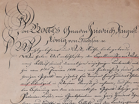 Rescript an das Finanz-Collegium über die Fortzahlung von Webers Gehalt auf Lebenszeit vom 13. September 1817. Reproduktion des Faksimiles aus dem Carl-Maria-von-Weber-Museum.