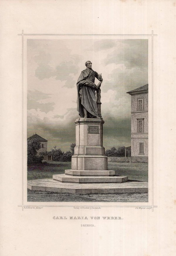 Stahlstich des Denkmals für Carl Maria von Weber nach einem Entwurf Ernst Rietschels an seinem ursprünglichen Standort zwischen dem ersten Hoftheatergebäude und der Elbe