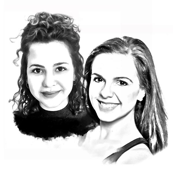Porträtzeichnungen von Hannah Kawalek und Katrin Meraner, Musiktheater-Pädagoginnen