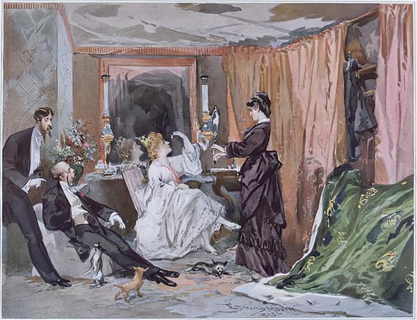 Die Garderobe der Hortense Schneider, Aquarell von Edmond Morin, 1873