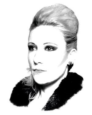 Porträtzeichnung einer Frau mit Hochsteckfrisur
