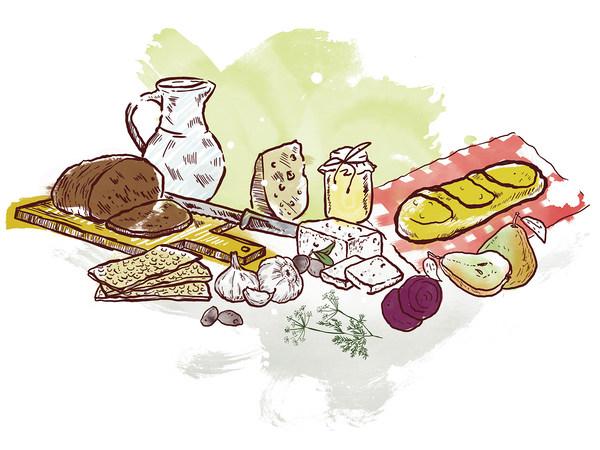 Zeichnung von verschiedenen Brotsorten auf Holzbrettern, Käsesorten, Knoblauch, Birnen und Honig