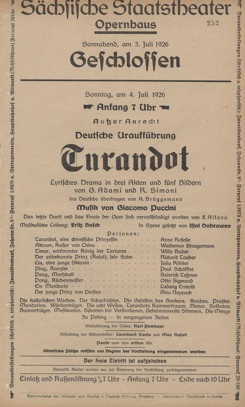 Theaterzettel der Deutschen Erstaufführung von »Turandot« am 4.7.1926