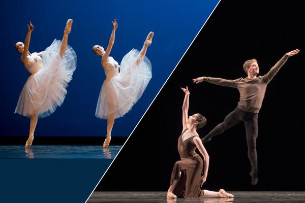 Eine Collage aus drei Tanzszenen illustriert die Bandbreite des Elevenprogramms des Semperoper Ballett.