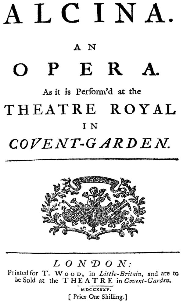 Titelseite des Librettos von »Alcina«