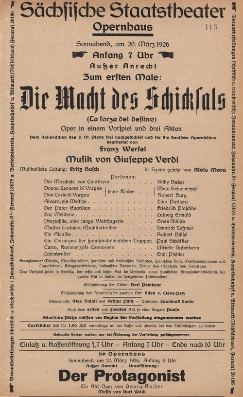 Theaterzettel der Premiere von »Die Macht des Schicksals« am 20. März 1926 © Historisches Archiv der Sächsischen Staatstheater