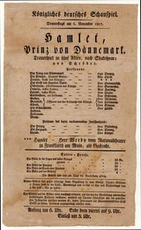 Ältester Theaterzettel des Staatsschauspiels im Bestand des Historischen Archivs: »Hamlet«, 6. November 1817