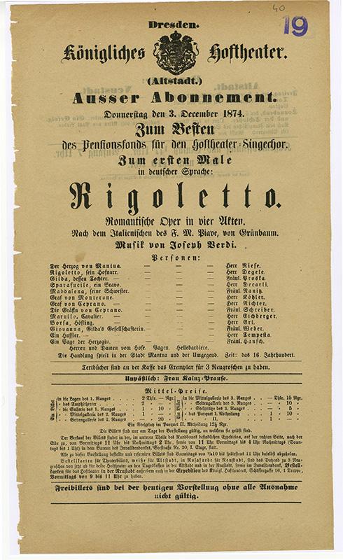 Theaterzettel Erstaufführung »Rigoletto« am 3.12.1874
